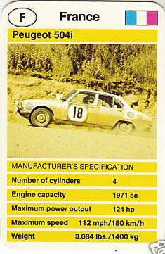 Peugeot 504 injection Rallye Top Trumps, Car Pictures, Peugeot, Trading Cards, Rally, Pug, Engineering, France, My Love