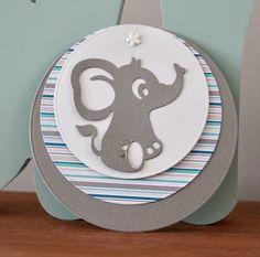 Faire part naissance rond 100% personnalisable éléphant gris vert kaki rayures