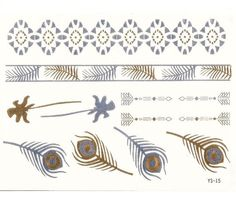 Feathers & Arrows Metallic Silver & Gold Temporary Tattoos