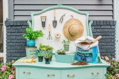 Before you kick that old dresser to the curb, transform it into a vibrant, outdoor potting bench that also doubles as a buffet station for mixing up cocktails.