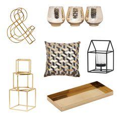 B R A S S & B L A C K Brass and black decor items, brass tray, brass cube set, geometric house, candles, brass letter. http://www.edenhome.com.au/