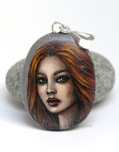 Original painted stone girl face as unique art jewelry by Magics of Creation on Etsy