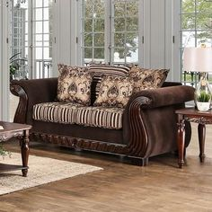 "Thales Collection SM6208-LV 73"" Love Seat with Chenille Fabric Intricate Wood Trim Loose Back Pillows and Rolled Arms in Brown"