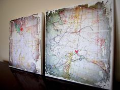DIY for transferring map to canvas -- uses photo program to age map. ---