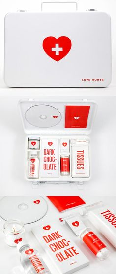 Love Hurt. Are you or someone you know going through a breakup? Get this first aid kit for a broken heart. Comes with some chocolate, vodka, bubble bath soap, a candle with matches, candy hearts, a mix CD, and if all else fails, tissues. You'll be okay :)