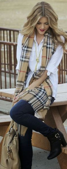 Black booties, black pants, white button up, lariat necklace, Burberry print scarf.