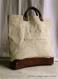 UTO BAG / vintage leather& canvas bag