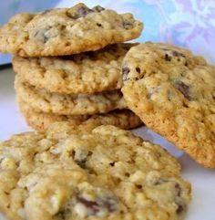 EGG-LESS Chewy Oatmeal Chocolate Chip Cookies Recipe - want cookies but you're out of eggs? Make these instead of borrowing from the neighbors! Perfectly chewy with a crisp edge!