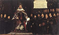 Detail of The Family of Henry VIII, now at Hampton Court Palace, c. 1545 Oil on canvas, 141 x 355 cm Left to Right: Prince Edward, Henry VIII, Jane Seymour  Date