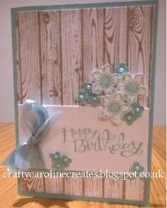 Birthday card with Stampin Up Hardwood and Petite Petals stamp sets, pool party and crib cake.