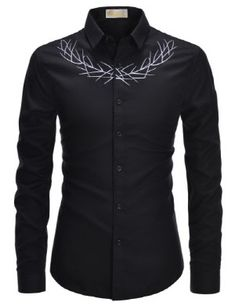 TheLees Mens Slim Fit Unique Laurel Embroidery Casual Dress Shirts - Mens Shirts Casual - Ideas of Mens Shirts Casual - TheLees Mens Slim Fit Unique Laurel Embroidery Casual Dress Shirts Stylish Shirts, Casual Shirts For Men, Cool Shirts, Man Dress Design, Chemises Country, Gents Shirts, African Clothing For Men, Dress Shirts, Tee Shirts