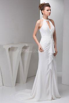 Mermaid/Trumpet Chiffon Halter Natural Waist Sweep/Brush Train Zipper Sleeveless Ruching Split Wedding Dress picture 5