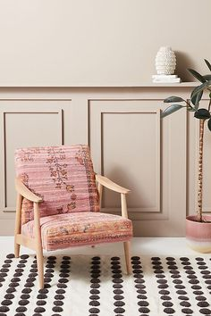 Anthropologie's New Spring Home Collection Is a Bold, Colorful, Eco-Conscious Work of Art: Alaris Rug-Printed Armchair #anthropologie #home #homedecor #roomdecor