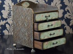 Apothecary Cabinet Large Jewelry Box Jewelry Makeup Storage Box Big Makeup  Organizer Mini Commode Herb Cupboard Mini Chest Of Drawers Damask