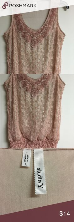 Studio Y Maurices Large Pink Lace top with pearls Very pretty Victorian-style dusty pink rose color, Lace top with rosettes and a strand of faux pearls attached along neckline. Studio Y Maurices size Large. Excellent like-new condition, only worn once. No holes, no stains, no flaws of any kind. Check my other items for bundles! I'll be listing about 200 items in the next week or so. I have entirely too many clothes & I'm running out of closet space! Time to consolidate. Offering a 10% bundle…