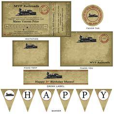 Vintage Train Ticket Party Invitation - 4x8. $15.00, via Etsy.