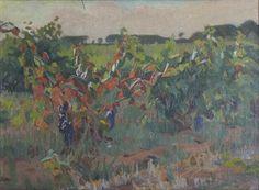 Champs de vignes à La Favière-Huile sur toile (45x33 cm)- Edmond Astruc