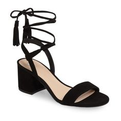 Women's Bp. Karla Block Heel Ankle Wrap Sandal (245 RON) ❤ liked on Polyvore featuring shoes, sandals, heels, black suede, black sandals, black heeled sandals, bow sandals, block heel shoes and ankle strap heel sandals