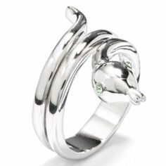 Silver Tone Simulated Crystal Snake Ring