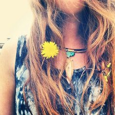 .@penny shima glanz shima glanz shima glanz Douglas People | Flowers in your hair... necklace is the Caged Fossil Collar #freepeople