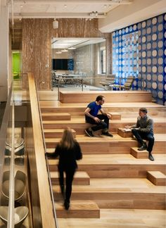 Also The Interior Engages Office Employees On This Signature Volume Indicator Wood Stair