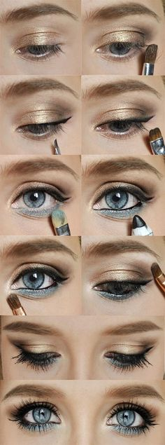 Make your eyes pop by lining your lower lashline with color. Blue eyes: blues, green eyes: greens or purples, brown eyes: purples or gold, and hazel eyes: gold or greens