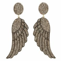 Carole Shashona Black Diamond Soul Wing Earrings at Barneys.com