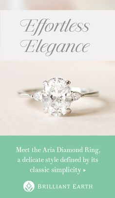 Meet the Aria Diamond Ring. Classic simplicity defines this delicate setting, which features a thin precious metal band that gently tapers towards a pear-shaped diamond accent on each side of the center gem. Pretty Rings, Beautiful Rings, Jewelry Rings, Jewelery, Jewellery Box, Tanishq Jewellery, Jewellery Shops, Diamond Jewellery, Jewelry Stores