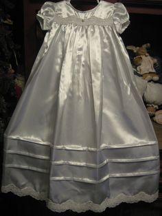 High bodice wedding lace satin christening by DownSnowberryLane, $109.95