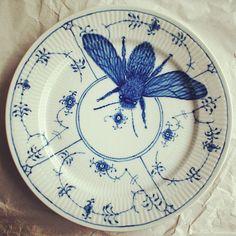 Royal Copenhagen Blue and White Bee Plates