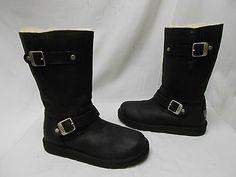 New UGG Womens 5678 Kensington Biker Leather Sheep Lined Winter Snow Boots 7