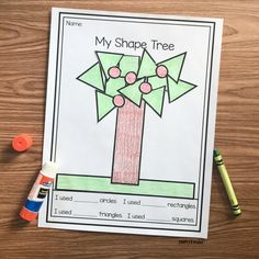Free Printable 2D Shape Tree Shape Activities Kindergarten, 3d Shapes Activities, Beginning Of Kindergarten, Library Activities, Kindergarten Class, Preschool Learning, Kid Activities, Math Resources, Teaching Ideas
