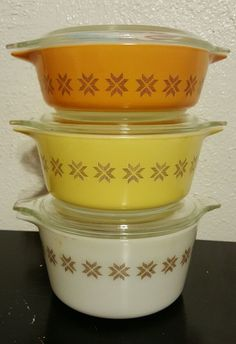 Vintage Pyrex Town n Country 3 baking casserole dishes lids gold yellow #471-473 #Pyrex