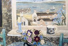 Green Chair and Candle - Sarah Bowman Window View, Still Life, Folk Art, Decorative Boxes, Illustration Art, Arts And Crafts, Candles, Green, Flowers