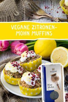 Zitronen-Mohn Muffins - eine herrlich erfrischende Kombination. #vegan #Muffins #backen #Zitrone #Mohn #blaumohn #sonnentor #veganbacken Cereal, Cheesecake, Breakfast, Desserts, Food, Almond Milk, Biscuits, Blue Poppy, Vegan Muffins