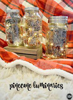 DIY Pinecone Mason Jar Luminaries | An easy way to add lights to your fall/holiday decor!