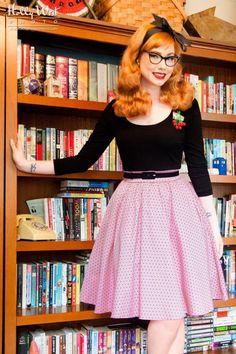 Pinup Couture  Allison Dress Pink Black Polkadot 102 29 16657 20150818 01