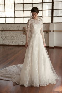 Chana Marelus Daniella gown from our Fall 2019 collection. An elegant ball gown with long sleeves, embroidered at the shoulder and down the sleeve. Elegant Ball Gowns, Simple Wedding Gowns, Muslim Wedding Dresses, Top Wedding Dresses, Lace Bridesmaid Dresses, Gorgeous Wedding Dress, Bridal Dresses, Marie, Couture Fashion