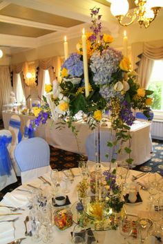 Bright Spring Blues & Yellows For Katy & Robert's Big Day at Fulwood Methodist Church & Bartle Hall Lemon Yellow, Blue Yellow, Crystal Candelabra, Yellow Wedding Flowers, Bright Spring, Spring Wedding, Big Day, Tablescapes, Wedding Planner