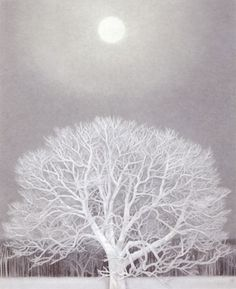 """Kaii Higashiyama, """"Winter"""", 1964 Illustration, tree and moon. A deligh white on light blue drawing Art And Illustration, Christmas Illustration, Japanese Art Styles, Japanese Artists, Painting Snow, Winter Painting, Blue Drawings, Farm Paintings, Art Japonais"""