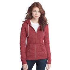 Juniors Marled Fleece Full-Zip Hoodie. DT292. I would love if this came in men's and women's because the marled red is so cool and works so well with our brand. Marled yellow would be cool, too.