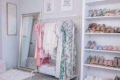 Closet Tour and Organization // Shannon H. Closet Tour, Closet Office, Room Closet, Closet Space, Shannon Sullivan, Gold Etagere, White Bookshelves, Home Office Organization, Organization Ideas