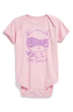 Mighty Fine 'Sleep Bandit' Cotton Bodysuit (Baby Girls) available at #Nordstrom