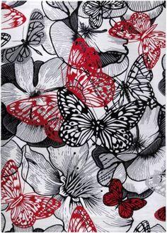 #Mädchen #Teppich #Butterfly #Kiss #mehrfarbig   #160 #x 225 Dieser Teppich will auffallen! Mit seinem intensiven Muster und seinen starken Kontrasten zieht er alle Blicke auf sich. Dekorative Blüten und große Schmetterlinge in Schwarz und Rot versprühen einen Hauch asiatischer Wohnkultur. Florhöhe: 8,5 mm Material: Nutzschicht: 100% Polyester Unterseite: 50% Polyester und 50% Jute Gütesiegel TEXTILES VERTRAUEN - schadstoffgeprüft nach Öko-Tex Standard 100 (Prüfinstitut Hohenstein…