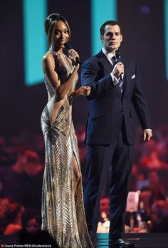 Chic couple:Jourdan Dunn and Henry Cavill partnered up at the BRIT Awards held in London's O2 Arena on Wednesday night and stole the show by being two of the most stunning guests to grace the stage