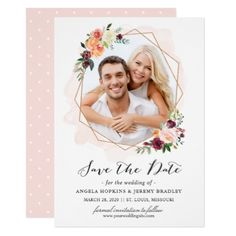 Modern Geometric Bloom Floral Photo Save the Date Card - wedding invitations diy cyo special idea personalize card