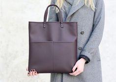 Bordeaux tote bag  Vegan leather bag  Faux leather by Sugulovas