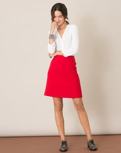 Roter kompakter Rock Jane Dresses For Work, Styles, Chic, Images, Skirts, How To Wear, Fashion, Red Skirts, Fashion Styles