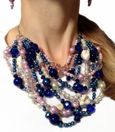 CLASSIC Statement Necklace Navy Pink White by JewelryByJessicaT, $90.00