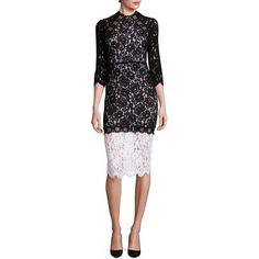 Alexis Whitney Lace Colorblock Dress ($252) ❤ liked on Polyvore featuring dresses, black white, lace dress, colorblock sheath dress, 3 4 sleeve lace dress, floral lace dress and color block dress